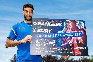 Rangers defender Connor Goldson promotes tickets for the upcoming Rangers v Bury friendly. Picture: SNS