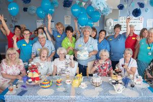 Patients and staff at New Victoria hospital, Glasgow, enjoying a NHS Big7Tea party with donations from Asda. Picture: Ian Georgeson