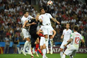 England defender Kyle Walker battles for an aerial ball with Croatia's Domagoj Vida. Picture: AFP/Getty