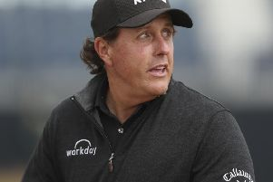 Phil Mickelson during a practice round at Carnoustie. Picture: Jon Super/AP