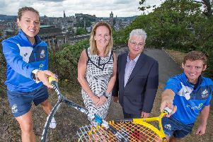 Lisa Aitken, Maggie Still, Sandy Adam and Greg Lobban at the launch of the Springfield Scottish Open.