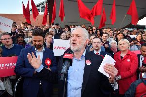 Labour leader Jeremy Corbyn speaks during a Momentum rally outside Manchester Central. Picture: Anthony Devlin/Getty Images