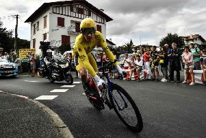 Great Britain s Geraint Thomas rides during the 20th stage of the Tour.  Pic  MARCO 60bd8342c