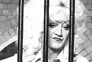 Lily Savage in a scene from the musical comedy Prisoner Cell Block H