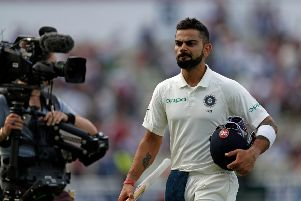 India's Captain Virat Kohli walks off the pitch at the end of play during the third day of the first Test cricket match between England and India at Edgbaston in Birmingham, central England on August 3, 2018. / AFP PHOTO / ADRIAN DENNIS / RESTRICTED TO EDITORIAL USE. NO ASSOCIATION WITH DIRECT COMPETITOR OF SPONSOR, PARTNER, OR SUPPLIER OF THE ECBADRIAN DENNIS/AFP/Getty Images
