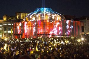 Projections light up Edinburgh's Usher Hall as the city's famous festival season gets under way with the 'Five Telegrams' opening event. Picture: PA