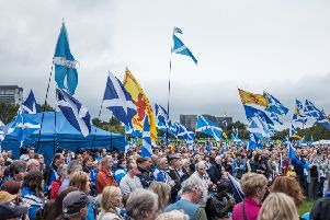 Scottish independence supporters during a rally at Glasgow Green. Picture: John Devlin
