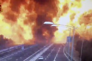 A still from a video released by police shows the explosion after a tanker hit another truck on  a road in the outskirts of Bologna. Picture: AP