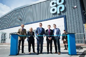 From left: Earl of Moray, John Douglas Stuart; Inverness Provost, Helen Carmichael; the Co-op's COO Chris Whitfield, Co-op logistics director Andy Perry and Co-op MD of property David Roberts. Picture: Alison White
