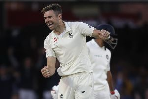 England's James Anderson celebrates taking the wicket of Ishant Sharma to get India all out for 107. Picture: AP