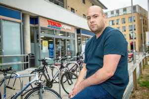 Matthew Brackley, age 27, outside the Tesco in Cambridge where he had an altercation with the security guard. Picture: SWNS