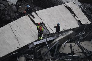 Italian authorities say that about 10 vehicles were involved. Picture: AP