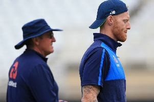 England's Ben Stokes, right, and head coach Trevor Bayliss at yesterday's practice session ahead of the third Test at Trent Bridge. Picture: AFP/Getty