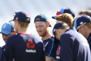 Ben Stokes, centre, during a nets session at Trent Bridge as England finalised preparations for the third Test. Picture: PA