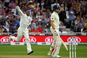 India's Hardik Pandya celebrates after claiming the wicket of England captain Joe Root on a dramatic second day ''at Trent Bridge. Picture: Getty
