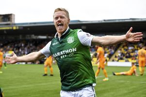 Daryl Horgan celebrates his goal against Livingston, but later admitted Hibs lacked quality in the final third. Picture: SNS.