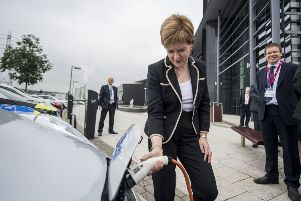 Nicola Sturgeon viewed a range of electric vehicles used by the emergency services while visiting the Scottish Fire and Rescue Service headquarters in Cambuslang. Picture: John Devlin