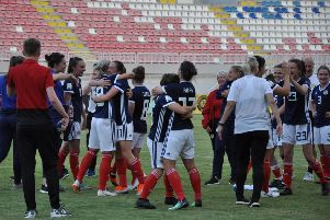 Scotland's players celebrate after the victory over Albania which sealed World Cup qualification. Picture: Scottish FA