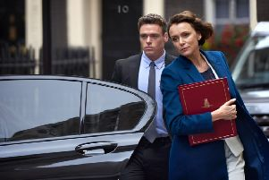 BBC One series Bodyguard stars Keeley Hawes and Richard Madden. Picture: BBC