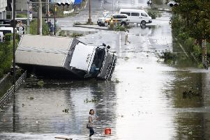 A powerful typhoon blew through western Japan on Tuesday. Picture: AP
