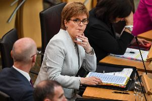 First Minister Nicola Sturgeon at First Minister's Question today, the first of the new parliamentary session at Holyrood after the summer recess. Picture: Jeff J Mitchell/Getty Images