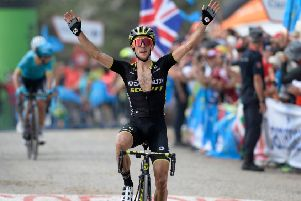 British cyclist Simon Yates celebrates. Pic: AFP/Getty Images