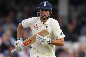 Alastair Cook was unbeaten on 46 at close of play. Picture: Getty.