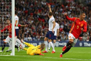 Rodrigo wheels away in delight after grabbing the winning goal. Picture: Getty.