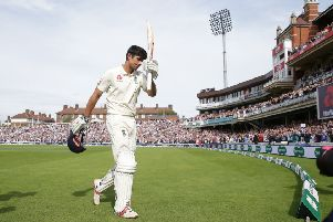 Alastair Cook leaves the field after being dismissed for 147 in his final Test innings. Picture: Adam Davy/PA