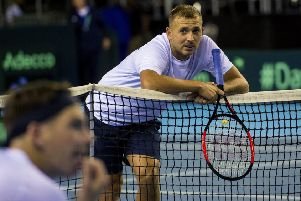 Dan Evans takes a breather during practice at the Emirates Arena in Glasgow. Picture: Bill Murray/SNS