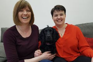 Ruth Davidson MSP and partner Jen Wilson and theri dog Wilson on the announcement of Ruth's pregnancy'Ruth Davidson pregnant baby