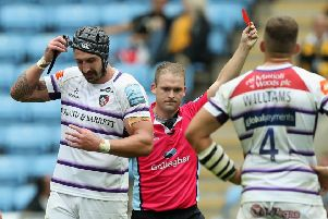 Will Spencer, left, of Leicester Tigers is sent off by referee Ian Tempest after a high tackle on Tommy Taylor of Wasps. Picture: David Rogers/Getty Images