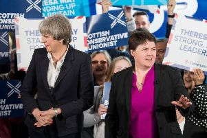 Theresa May with Ruth Davidson. Picture: Ian Georgeson