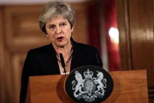 Prime Minister Theresa May makes a statement on Brexit negotiations with the European Union at Number 10 Downing Street. Picture: Getty Images