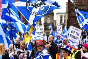 A previous independence rally. The 'biggest ever' is being planned in Edinburgh but the use of Holyrood Park has been denied by HES.