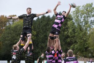 Ayr's Tommy Spinks takes a line out. Pic: SNS/SRU/Bruce White