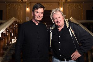 Ian Rankin and Charles Lawson posed for pictures at the King's Theatre before the opening night performance was halted when the actor fell ill.