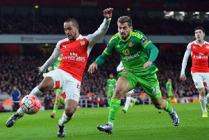 Charalampos Mavrias, pictured playing for Sunderland against Arsenal, is expected to sign for Hibs next week.
