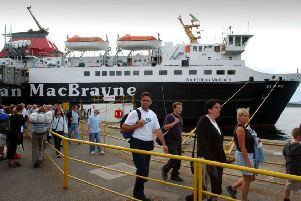 Passengers disembark from Caledonian MacBrayne's Isle of Mull ferry in Oban. Picture: Donald Macleod