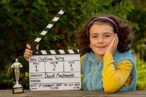 10 year old Josie O'Brien who plays the part of Marjorie, the daughter of Robert The Bruce in the upcoming Netflix film Outlaw King 11/10/18