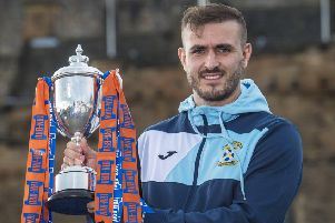 East Fife's Scott Linton with the Irn-Bru Cup. Picture: SNS Group