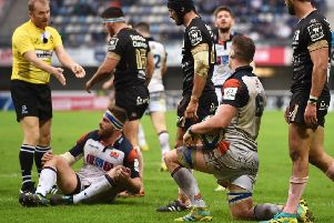 Simon Berghan, second left, is penalised for obstruction and Magnus Bradbury's try against Montpellier is chalked off. Picture: SNS/SRU