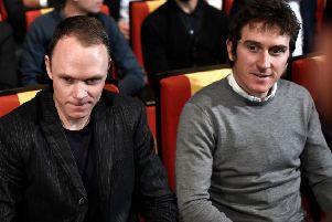 2018 Tour de France winner Geraint Thomas, right and Chris Froome at the 2019 route launch. Picture: Stephane De Sakutin/AFP/Getty