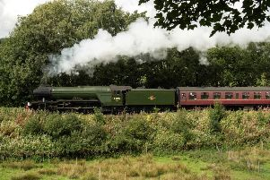 The Flying Scotsman steam locomotive travels along the East Lancashire Railway's line. Picture: OLI SCARFF / AFP)OLI SCARFF/AFP/Getty Images.