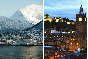 Scotland is set to be colder than parts of Norway (left) tonight. Pictures: Pixabay