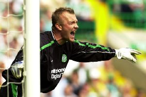 Magnus Hedman shouts instructions during his debut for Celtic against Dundee United in August 2002. Picture: TSPL