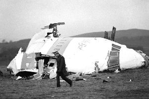 The wrecked nose section of Pan Am flight 103 in a field at Lockerbie, near Dumfries, after the plane was blown apart by a terrorist bomb. Picture: PA Wire