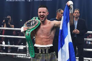Josh Taylor celebrates after winning his super lightweight World Boxing Super Series quarter-final against Ryan Martin. Picture:  Paul Devlin/SNS
