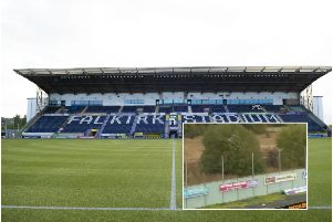A general view of Falkirk Stadium and, inset, the fan in the tree. Main picture: SNS Group