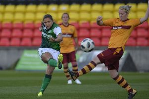 Abi Harrison opens the scoring for Hibs Ladies in their 8-0 thrashing of Motherwell Ladies: Picture: Lorraine Hill